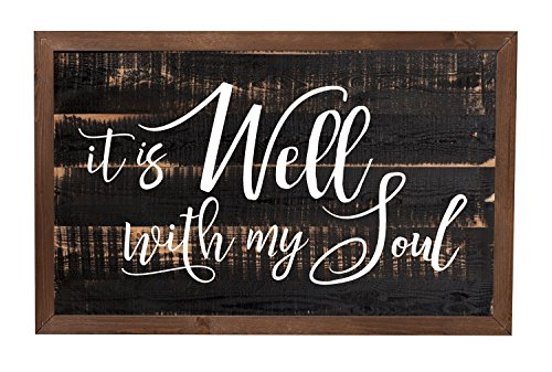 Cheap P. GRAHAM DUNN It is Well with My Soul Black Distressed 18 x 11 Inch Solid Pine Wood Farmhouse Frame Wall Plaque