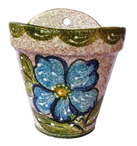 Cactus Canyon Ceramics Wall Flower Pot (Green Design) - Hand Painted in Spain