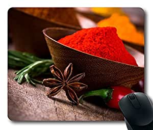 Custom Amazing Mouse Pad with Spices Utensils Pepper Non-Slip Neoprene Rubber Standard Size 9 Inch(220mm) X 7 Inch(180mm) X 1/8 Inch(3mm) Desktop Mousepad Laptop Mousepads Comfortable Computer Mouse Mat