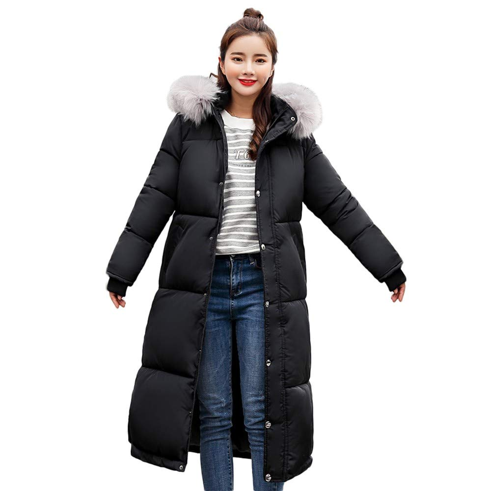 Winter Women's Cold Resistant Warm Down Cotton Long Parka Hooded Coat Quilted Outwear