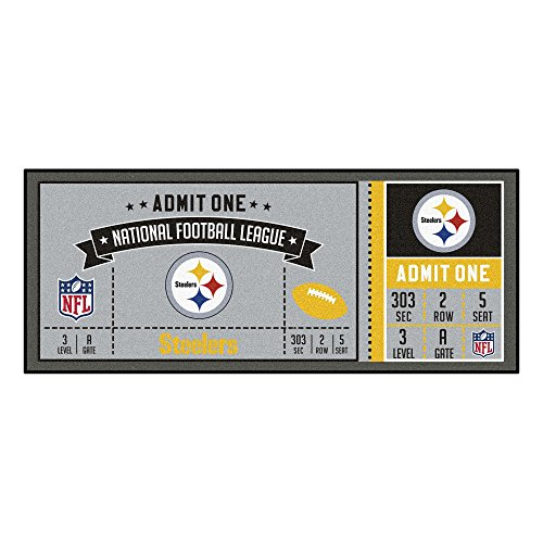 NFL Pittsburgh Steelers Ticket Non-Skid Mat Area Rug ()
