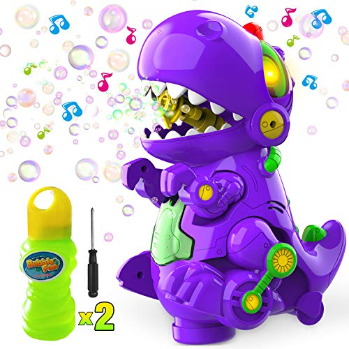 WisToyz Bubble Machine Dinosaur Bubble Blower, Walk & Stay Still Two Settings, Music & Light, Bump N Go Feature, Toddler Toys Bubble Machine for Kids, Two Bottles of Bubble Solution & Screwdriver