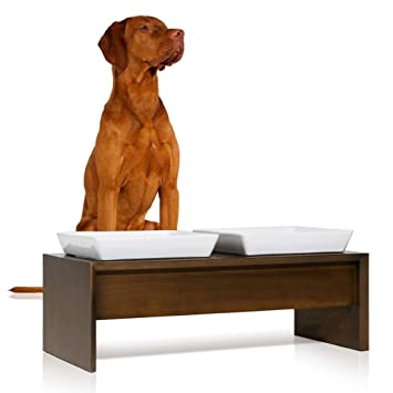 JIANXIN Mesa para Mascotas, Tazón para Gatos, Estante para Platos De Madera Maciza, Tazón Doble De Cerámica, Adecuado para Perros Y Gatos Pequeños Y ...