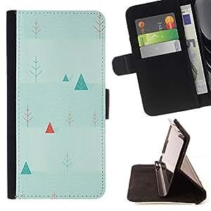 Momo Phone Case / Flip Funda de Cuero Case Cover - Triángulo del Arte Picea árbol de navidad de fondo de pantalla - Samsung Galaxy S5 V SM-G900