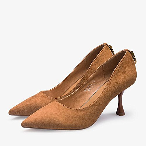 Feifei Women's Shoes Summer Retro Shallow Mouth Heeled 7.5CM High-Heeled Shoes Single Shoes Brown 9FRHrNp