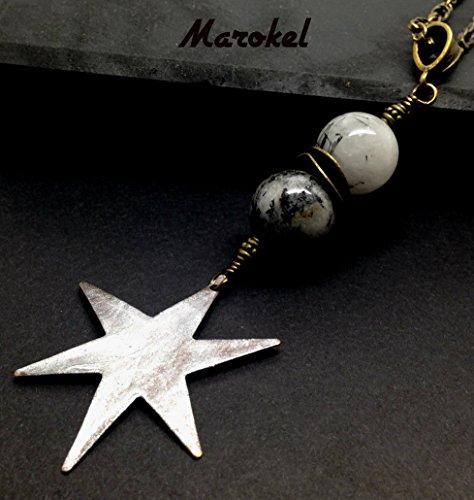 Wishing on a Star Black Hair Quartz Necklace Vintaj Star Silver ()
