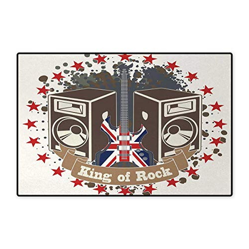 Decorative Rock Speaker - Popstar Party,Bath Mat,King Rock Label with Speakers Stars and Electric Guitar with British Flag,Door Mat Indoors Bathroom Mats Non Slip,Multicolor 16