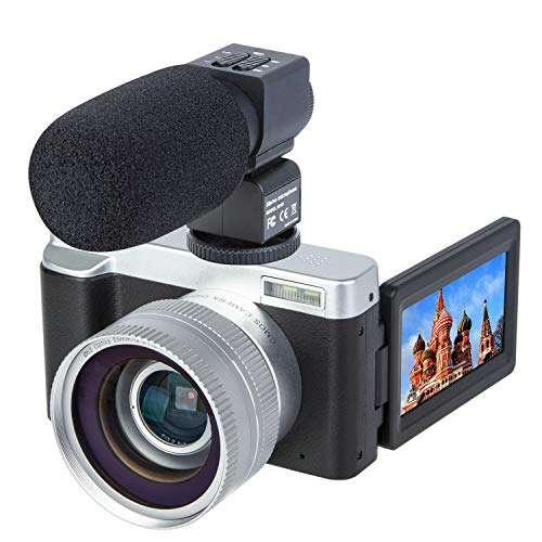 Digital Video Vlogging Camera Recorder 3.0 Inch Flip Screen HD1080P 30FPS 24.0MP 16X Digital Zoom Camera with External Microphone and Wide Angle Lens,2 Batteries(DC102M) from SOSUN