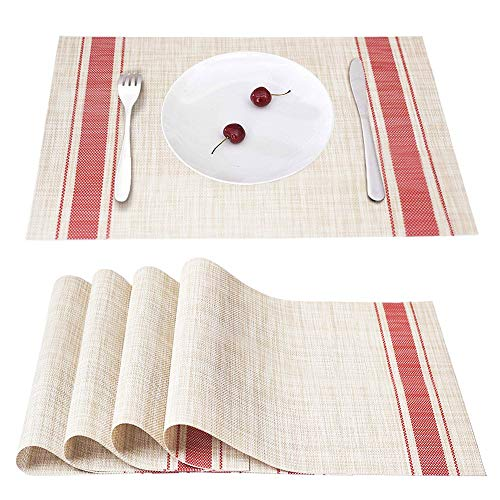 Smeala Placemats Set of 4, Heat Insulation & Stain Resistant Washable Place Mats, 17.7 x 11.8 inches Durable Non-Slip Kitchen Table Mats Placemat for Dining Table (red)
