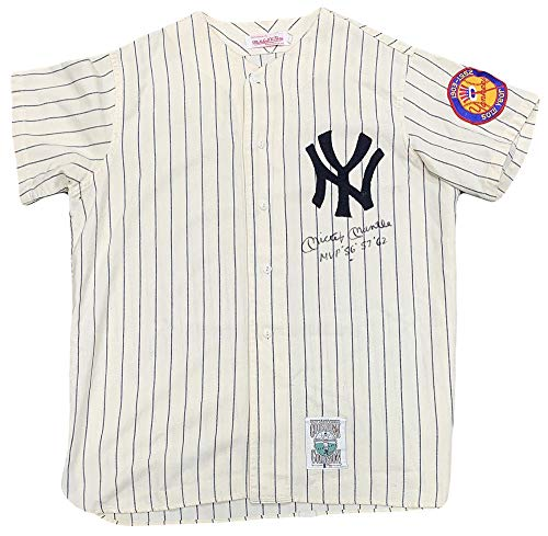 Rare Mickey Mantle Signed Jersey, Inscribed MVP 1956 '57 '62. PSA 8 Auto, JSA (Mickey Mantle 1952 Topps Rookie Card Value)
