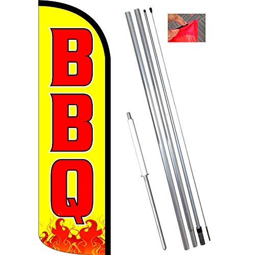 BBQ (Yellow) Windless Polyknit Feather Flag Bundle (11.5' Tall Flag, 15' Tall Flagpole, Ground Mount Stake)