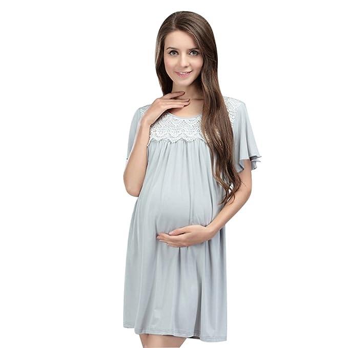 NiSeng Mujer Cuello Redondo Manga Corta Premamá Vestidos Ropa De Enfermería De Maternidad Lactancia Vestidos XL