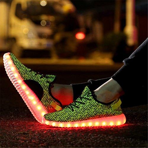 Greatjoy Vuxna / Barn Ledde Skor Lyser Sneaker Usb-laddnings Mode Gåva Grönt