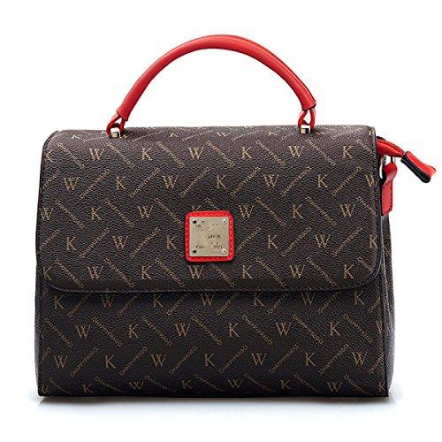 Bolso De Hombro Letras Clásicas Bolsos De Mano Abrochados Messenger Bag Red