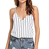 Summer Vest,Fashion Women V-Neck Sleeveless Cold Shoulder Striped Print Backless Camis Top by Youngh White