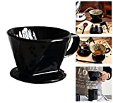 Coffee Dripper, ForNeat coffee Filter Cone, Pour Over Coffee Cone Dripper with Cup Stand (2, Ceramic-Black)