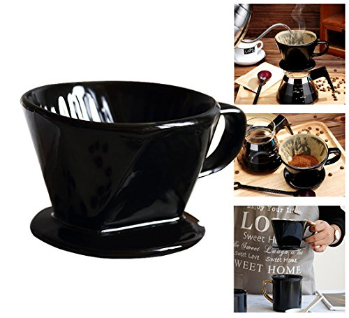 Coffee Dripper, ForNeat coffee Filter Cone, Pour Over Coffee Cone Dripper with Cup Stand (2, Ceramic-Black) by ForNeat
