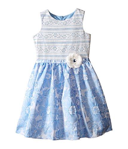 US Angels Girls' Brocade Lace Sleeveless Dress w/Satin Ribbon Trim (Toddler/Little Kids), Blue 6X