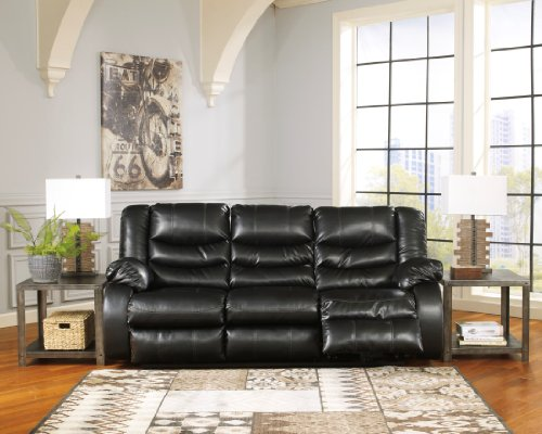 Signature Design by Ashley 9520288 Linebacker DuraBlend Collection Reclining Sofa, Black For Sale