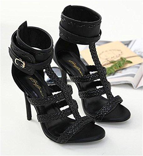 Talon YOGLY Boucle Escarpins Aiguille Soiree Hauts Talons Chaussures Sandale à Crossed Femme Club Bout Sexy Noir Ouvert q4CrBqg8