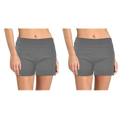 2pk Stretch Cotton Yoga Shorts Spandex Gym Run Exercise Wide Foldover Waistband