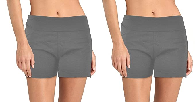 DG Wear 2pk Stretch Cotton Yoga Shorts Spandex Gym Run Exercise Wide Foldover Waistband