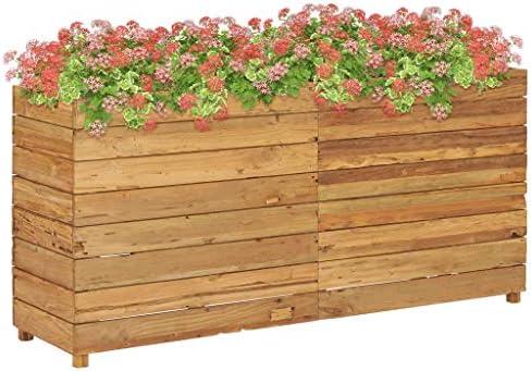 Benkeg Jardinera De Teca Reciclada Y Acero 150 x 40 x 72 cm, Jardinera Madera Exterior Jardinera Madera Rectangular Jardineras Exterior Balcon para Sus Jardines, Balcones O Patios: Amazon.es: Hogar