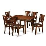 East West Furniture PSDU7-MAH-LC 7-Piece Kitchen Table Set For Sale