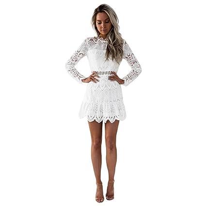Vestidos mujer casual,Encaje de las mujeres de manga larga cóctel fiesta mini vestido LMMVP