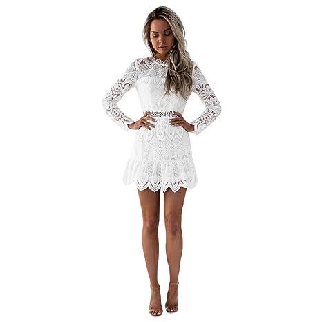 Lmmvp Vestidos Mujer Casualencaje De Las Mujeres De Manga Larga Cóctel Fiesta Mini Vestido M Blanco