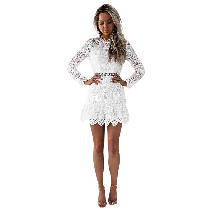 Vestidos mujer casual,Encaje de las mujeres de manga larga cóctel fiesta mini vestido LMMVP (M, Blanco): Amazon.es: Hogar