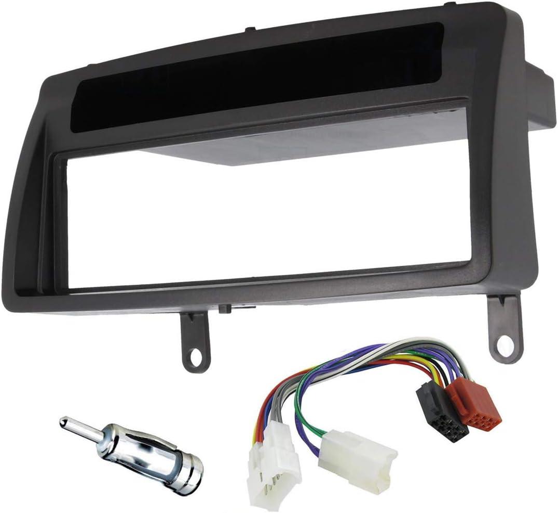 Sound-way Kit Montage Autoradio, Marco 1 DIN Radio de Coche, Adaptador Antena, Cable Conector ISO, Compatible con Toyota Corolla 2001-2007