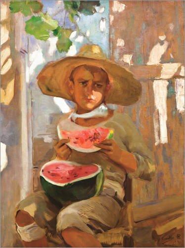 Posterlounge Lienzo 60 x 80 cm Boy with Watermelon de Joaquin Sorolla y Bastida - Cuadro Terminado, Cuadro sobre Bastidor, lamina terminada sobre Lienzo autentico, impresion en Lienzo