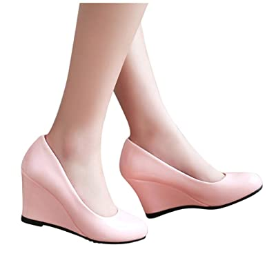 YiYLunneoWomen High Heel Thick Platform Pumps Dress Shoes Evening Prom Wedding Wedges Shoes Leisure Single Shoes: Clothing