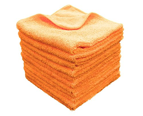 100% Premium Grade Microfiber All-Purpose Superior Microfiber Towels! Large 16x16 330GSM HeavyWeight - Ideal for TV Screens, Laptops, Windows, Mirrors, Cell Phones, Glasses and More! (Orange, 12 ()