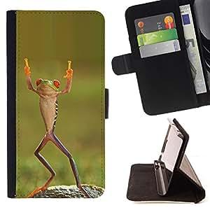 - Queen Pattern FOR Samsung Galaxy Note 4 IV /La identificaci????n del cr????dito ranuras para tarjetas tir????n de la caja Cartera de cuero cubie - frog happy dancing tropical gr
