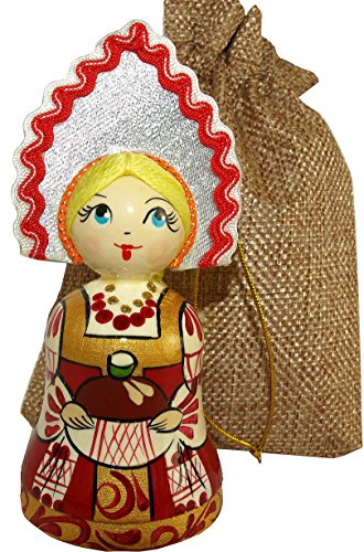 [Wooden Bell in the shape of a Girl with Crown - Handpainted Ethnic Doll in Traditional Folk Costume - Hanging Car Ornament - 4