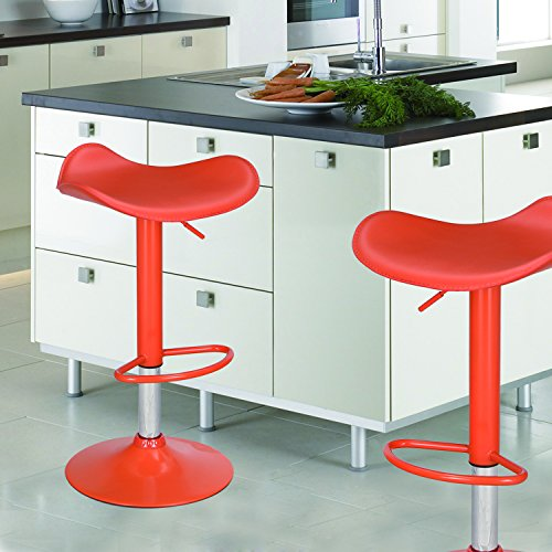 Joveco Contemporary Adjustable Bar Stools with Saddle Seat, Seat of 2