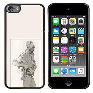 """Be-Star Único Patrón Plástico Duro Fundas Cover Cubre Hard Case Cover Para iPod Touch 6 ( Pintura Hombre Pistola Penal Art Dibujo al lápiz"""" )"""