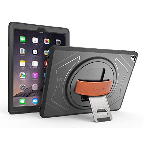 iPad Pro 9.7 Case, iPad 5th gen case, New Trent Gladius Pro Rugged Kickstand Case for Apple iPad Air 2, iPad Pro 9.7, iPad 5th Gen (2017) with Leather Hand Strap (Rugged Pro (Leather Hand Strap)