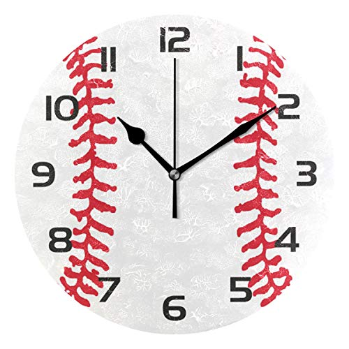 (TropicalLife Sport Baseball Decorative Wall Clock Acrylic Round Clocks Non Ticking Art Decor Bedroom Living Room Kitchen Bathroom Office School)