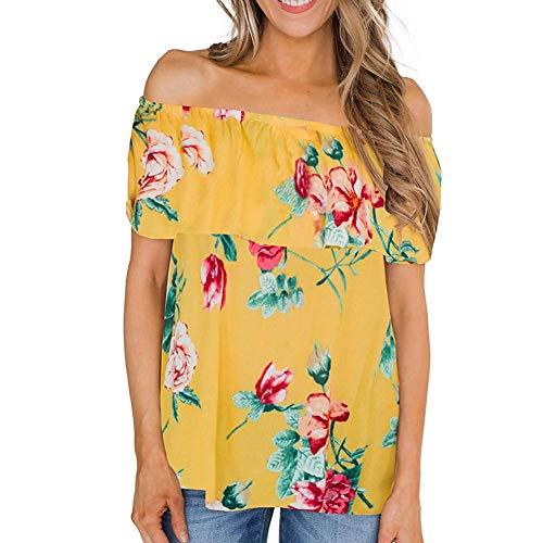 Spandex Bra Ruffled (DesirePath Floral Off The Shoulder Shirts for Women Summer Ruffled Sleeve Tunics Top (S, Yellow))