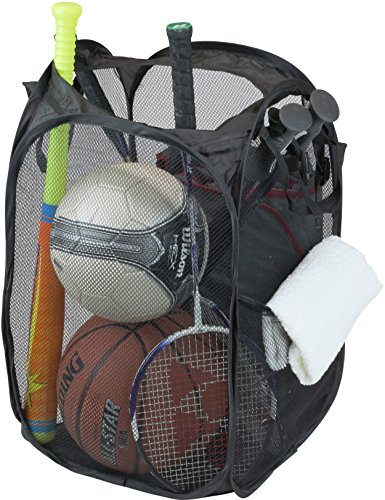 Simple Houseware Mesh Pop-Up Laundry Hamper Basket with Side Pocket, Black