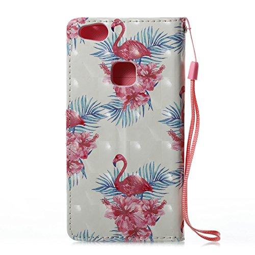Lotuslnn Huawei P10 Lite plus caja del teléfono, caja de cuero de la PU cubierta de cierre magnético cubierta con Kickstand y ranuras para tarjetas de bolsillo en efectivo para Huawei P10 Lite plus -  Flamingo pink