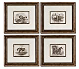Equestrian Horse Ranch Vintage Wall Art Prints Set | Bronze Framed