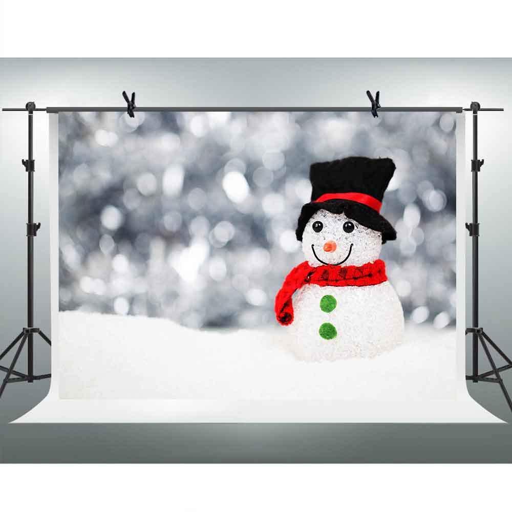 FHZON 10x7フィート かわいい雪だるまの背景 写真 雪 ボケ 背景 テーマ パーティー ポートレート 壁紙 写真ブース ビデオ 小道具 LFFH117   B07GWBJ9CP