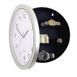 Katoot@ Modern Design Mechanical Clock Safe Storage Box Clock Plastic Jewelry Money Hidden Secret Stash Safe Box Wall Desk Clock