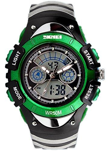 SKMEI Kinder Sport Armbanduhr Resin Analog Digital Quarz Kalender Alarm Chronograph 5ATM wasserdicht grün 0998
