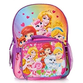 64f7ab79e9c Amazon.com   Disney Princess Pink Backpack with Lunch Box Synthetic School  Bag   Baby