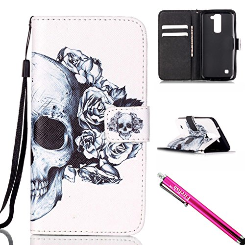 [LG Escape 3 / Phoenix 2 / K8 Case, Firefish Kickstand Flip [Card Slots] Wallet Cover Double Layer Bumper Shell with Magnetic Closure Strap Protective Case for LG Escape 3 / Phoenix 2 /] (Sugar Skull Makeup Ideas)